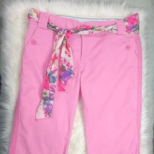 AEO Pink Cropped Chinos w/ Scarf Belt